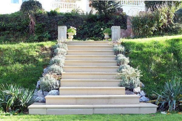 Flight of cast stone steps