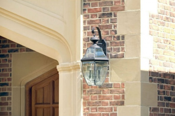 Cast stone with lamp